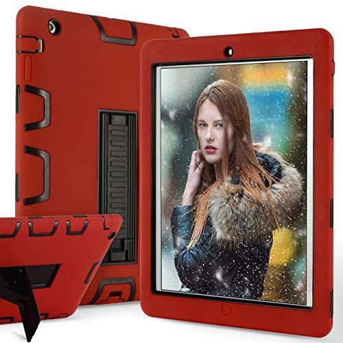 ZERMU Schutzhülle für iPad 2, iPad 3, iPad 4, strapazierfähiger Stand, stoßfest, Hartplastik + Silikon-Schutz, stoßfest, stoßfest, widerstandsfähig, robust, rot/Black