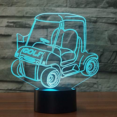 Golf Car LED 3D Night Light Cart 7 Color Change USB Touch Switch Lampe Schlafzimmer Dekoration 3D Table Lamp Kid Creative Gift