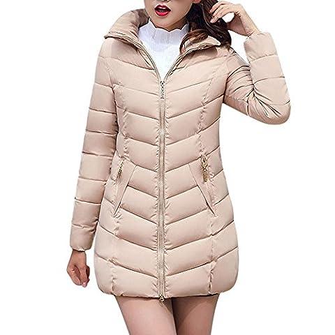 BBring Damen Mode Outwear, 2017 Neuer Frauen Slim Fit unten Jacken Winter Warmer Unten Mantel mit Gefälschter Pelz mit Kapuze Parka Jacken Mantel (XXXL, Khaki)