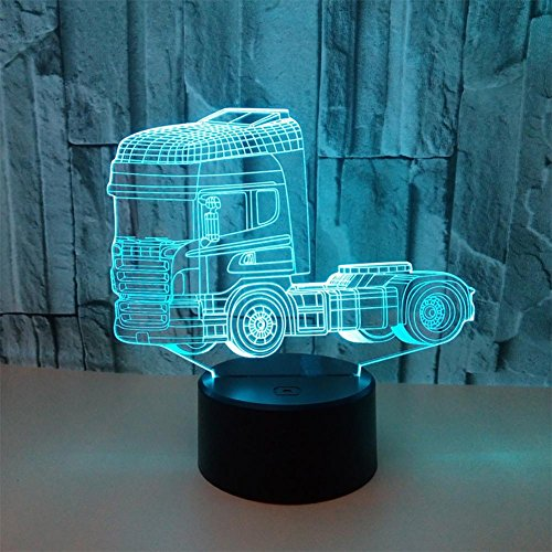 baby Q 3D LED Nachtlicht Lampe, LKW bunte Stereo Lichter, Acryl Touch Tischleuchte, USB Power Light Baby-kinderzimmer Deckenventilator