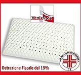 VENIXSOFT Cuscino SAPONETTA in memory foam ortopedico con fodera in 100% cotone, con effetto massaggiante, traspirante - DISPOSITIVO MEDICO CLASSE I, DETRAZIONE FISCALE DEL 19% - Made in Italy