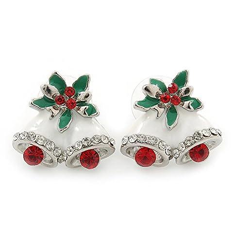 Christmas 'Jingle Bells'Rot/Transparent/Weiß/Grün, Ohrstecker, Emaille, rhodiniert, 20 mm Breite