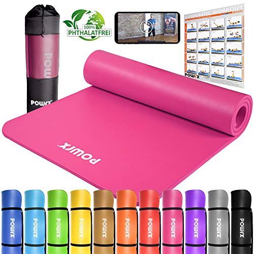 POWRX Gymnastikmatte Premium inkl. Trageband + Tasche + Übungsposter GRATIS I Hautfreundliche Fitnessmatte Phthalatfrei 190 x 80 x 1.5 cm I versch. Farben Yogamatte (Pink, 190 x 80 x 1.5 cm)