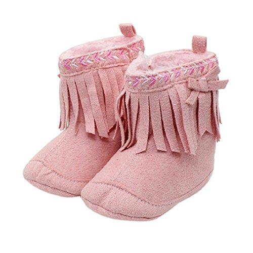 Lauflernschuhe,Amcool Weiche Sohle Luxus Schön Säugling Junge Mädchen Quaste Prewalker Krippe Schuhe (Alter:6-9 Monate, Rosa) Rosa