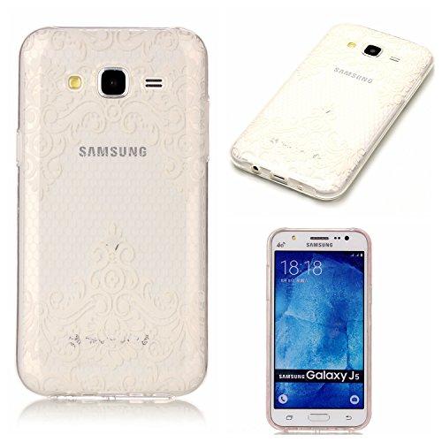 Coque Pour Samsung Galaxy J5 2015,Coffeetreehouse Motif soft coloré de motif imprimé transparent mince TPU Protecteur Case Pour Samsung Galaxy J5 2015(Design Fleur blanche en diagonale)