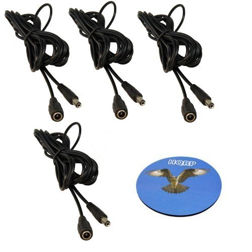 HQRP SET: 4PCS Male to Female DC Power Extension Cables for ZMODO Outdoor Indoor ZH-IXA15-WAC / ZP-IBI13-W / ZMD-CCH-BAS16NM / ZMD-CCH-BBS23NM / ZMD-CCH-BCS13NM Camera plus HQRP Coaster