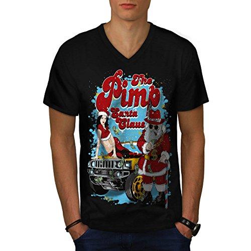 Weihnachtsmann Claus Heiß Weihnachten Herren S V-Ausschnitt T-shirt   (Süß Heiße Kostüme Aber Halloween)