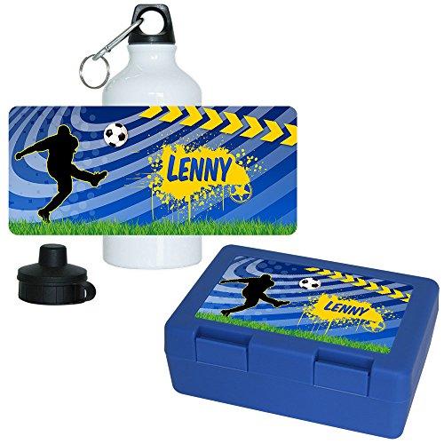 Eurofoto Brotdose + Trinkflasche Set mit Namen Lenny und Fußball-Motiv für Jungen | Aluminium-Trinkflasche | Lunchbox | Vesper-Box