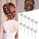 Rosenice, fermagli per capelli, da sposa, decorati con fiori in stress e perla, argentati, a forma di U (10 pezzi)