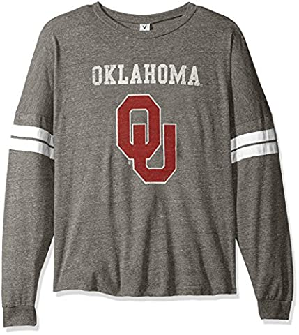 NCAA Oklahoma Sooners Betty Long Sleeve Tri-Blend Football Jersey T-Shirt, Large, Tri Grey/White