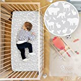 Rabitat Organic Cotton Fitted Crib Sheet Bedsheet for Cribs/Cots (White; Jungle)