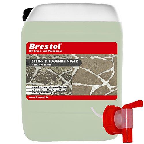 Brestol Stein- & Fugenreiniger 10 Liter Konzentrat + Auslaufhahn 51 mm - Steinreiniger Grünbelagsentferner Algenentferner Flechtenentferner Moosentferner Algizid Algenex