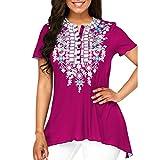 BHYDRY Frauen O-Ausschnitt Druckknopf Plus Size Kurzarm Bluse Top Tunika Shirt (3XL,Hot Pink)