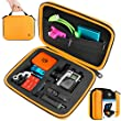CamKix Protective Carrying Case for GoPro Hero 4, 3+, 3 and 2 and Accessories - Ideal for Travel or Home Storage - Complete Protection for Your GoPro Camera - Carabiner and Microfiber Cleaning Cloth Included - CamKix Premium Quality Action Accessories (Medium, Orange)