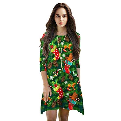 Kleider Und ärmel Glocke Tops (Weihnachtskostüm, Dasongff Print Cartoon Weihnachtsbaum Nette lose Kleid Herbst Kleider Swing Minikleid (One size, C))