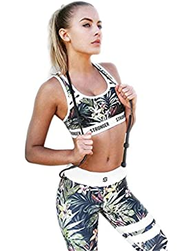 Conjunto Ropa Deportiva Mujer Bohemio Chic 2PC Conjuntos de Sujetador Crop Top y Pantalon Leggings Yoga Set Chandal...