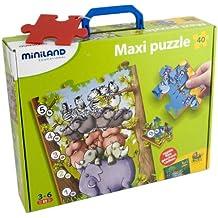 Miniland Educational 36001 - Puzzle con animalitos y números en estuche