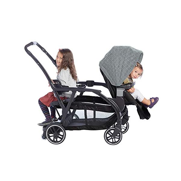 Graco Modes Duo Tandem Pushchair, Shift Graco 27 riding options for 2 children from infant to toddler; click connect attaches with all graco snug ride/essentials infant car seats. suitable from birth to 13kg (approx. 3 years) Two removable, multi-position reclining seats can be positioned rear or forward facing; the built-in bench seat gives your big kid a place to rest; both front and rear seats hold up to 15kgs One-hand standing fold, folds with seats on or off; locking front swivel wheels for superior manoeuvrability; one-step brakes make stopping, and going again, quick and easy 10