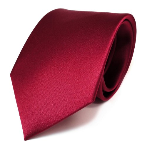 TigerTie Designer Satin Krawatte in rot karminrot uni Polyester - Schlips Tie
