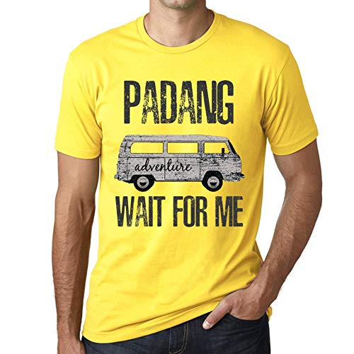 Herren Tee Männer Vintage T Shirt Padang Wait for Me Gelb
