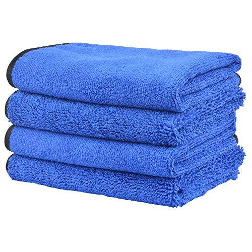 KinHwa Mikrofasertücher Reinigungstücher Autopflege Poliertuch Trockentuch 400gsm Extrem Saugstark und Fusselfrei 40 cm x 40cm 4 Stück Blau
