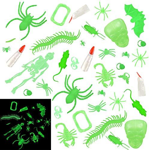(FEPITO 120 pcs Glow in The Dark Bugs Halloween Spielzeug für Kinder, Glow Plastic Bugs, Glühen Bug Ringe, Glühen Hexe Finger Vampir Zähne Skelette für Halloween Party Dekorationen)