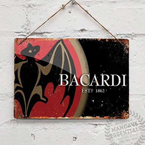 Bacardi Rum Logo – Replica Vintage Metal Placa de Pared Cartel Retro Pub Bar Mancave Pub Bar, 28x20cm Sticky Pads
