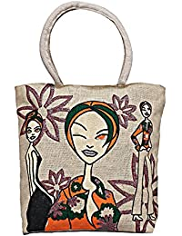 Maitri Jute Handbag | Shoulder Bag | Tote Bag | Cartoon Natural Beige Round Shape Handbag