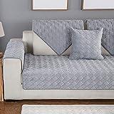 YLCJ Sofabezug für DREI Sitze mit Halbinsel Sofa, Gemischter Sofabezug mit rutschfestem Gitterdiamanten, Unikat, Grau, 1Stück90 * 120cm