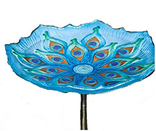 Peacock Birdbath on Stake - Butterfly Birdbath