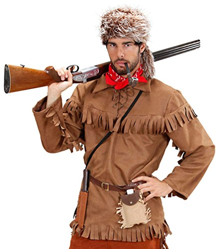 Kostüm Trapper Pelz - Karneval-Klamotten Trapper Pelztier-Jäger Kostüm Herren Fallensteller Oberteil inkl. Plüsch-Mütze Größe 50