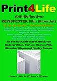 2 Blatt A4 Anti-Reflectiver REISSFESTER Film für Ink Jet (Tintenstrahl) Drucker. Ein beschichteter Anti-Reflexionsfilm für den hochauflösenden Druck von Bodengrafiken, Postern, Banner, POS, Hinweisschildern und Display Panelen, die alle eine reflexionsfreie Oberfläche benötigen. ARF besitzt an der Oberseite eine starke Texturierung für mechanische und chemische Abriebfestigkeit, die Rückseite ist für Ink Jet vorbehandelt.