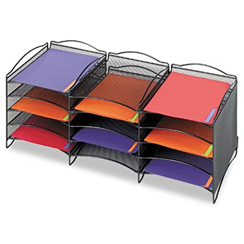 Onyx Steel Mesh Lliterature Sorter, 12 Compartments,