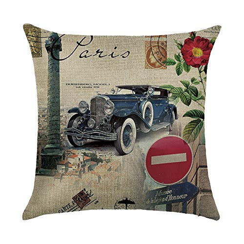 OPoplizg Retro Style Cushion Cover London New York Paris City View Printing Double-Sided 120g Thick Cotton Square Pillowcase 45cm x 45cm(18 x 18inch) (New York Halloween-partys Queens)