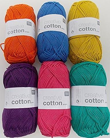 Häkelgarn Set 6x50 g Creative Cotton Aran Baumwollgarn zum Häkeln und Stricken