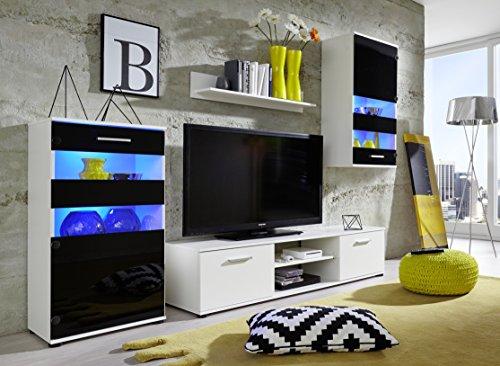 trendteam 1573-001-02 Wohnwand Weiß,  Klarglas Schwarz Siebdruck, BxHxT 222x177x40 cm - 3