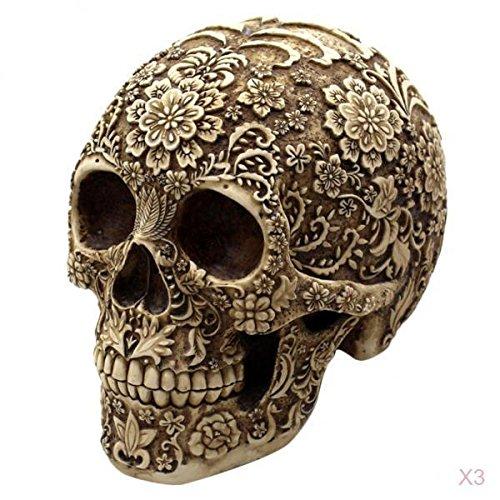 SM SunniMix 3X Halloween Schädel Figur Harz Skelett Modell Totenkopf Dekoration Für Halloween Oder Grusel Partys