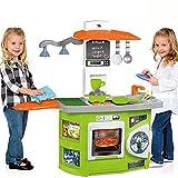 Spielküche mit Theke, 2 integrierte Lampen, Waschmaschine und Ofen: Spielzeug Küche Kinder Miniküche Licht Kinderküche Puppenküche Spiel