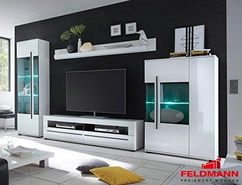 Wohnwand Anbauwand mit LED-Beleuchtung 440939 weiß 330cm 4-teilig