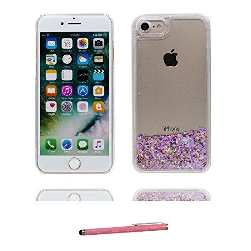 Coque iPhone 7, [Bling Bling Glitter ] iPhone 7 étui Cover (4.7 pouces), Fluide Liquide Sparkles Sables, iPhone 7 Case anti- chocs & stylet Grand Flamant # 4