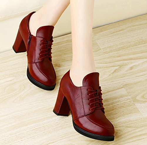 XTIAN , Bottes classiques femme Wine Red Weinrot