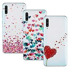 Idea Regalo - Young Ming Cover Compatibile Per Samsung Galaxy A50/A30s/A50s, (3 Pack) Morbido Trasparente Silicone Custodie Protettivo TPU Gel Case, Amore