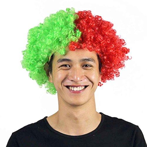 Floridivy Regenbogen-Fußball-Fußball-Ventilator-Perücke-Kopf-Kopf Carnival Festival Clown Kostüm Wellenförmige künstliche gefälschtes - Haar Clown Kostüm