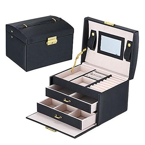 Asvert Boîte à Bijoux en Cuir PU 3 Plateaux 2 Tiroirs Elegant 17.5 * 14 * 13cm, Noir