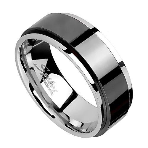 Piersando Band Ring Edelstahl mit Spinning Center Bandring Herrenring Damenring Partnerring Ehering Trauring Damen Herren Silber Schwarz Größe 57 (18.1) Breit 6mm