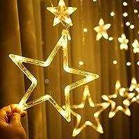 أضواء ليد لتزيين المنزل، أضواء سلسلة ستائر لغرفة النوم، 8 أوضاع إضاءة، أضواء خيالية مقاومة للماء لغرفة النوم، الزفاف، الحفلات، الكريسماس، تزيين رمضان- أبيض دافئ - 12 نجمة 138 LED