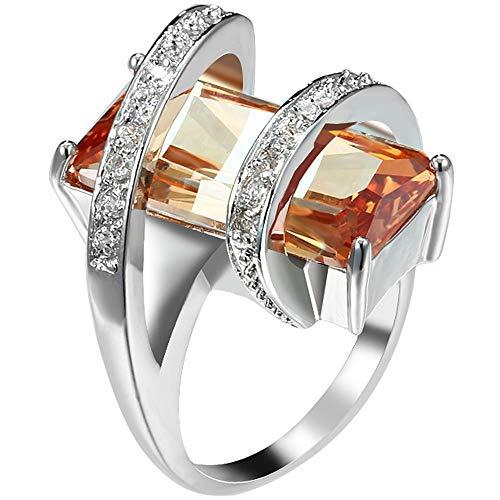 KLMFG Edelstahl Schmuck Damen Platin überzogenen Platz Cut Solitaire Champagne CZ Stretch einzigartiger Entwurfs Promise Ring Wedding Band -