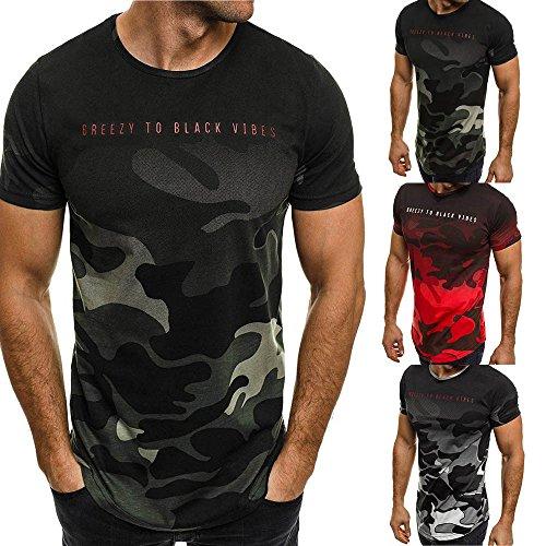 DAY.LIN T Shirts Männer Herren Mode Persönlichkeit Tarnung Herren Beiläufig Schlank Kurzarm Hemd oben Bluse Herren Camo Schriftzug Sport kurzes T-Shirt