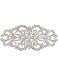 EVER FAITH® - Boda Art Deco Broche Claro Cristal Austriaco Plata-Tono N04246-1