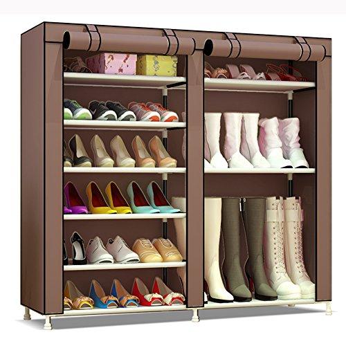 UDEAR 7 Schicht Schuhablage Schuhregal Schuhschrank Schuhe Regal Organizer mit Staubdicht Textil Kaffee Stiefel Stil